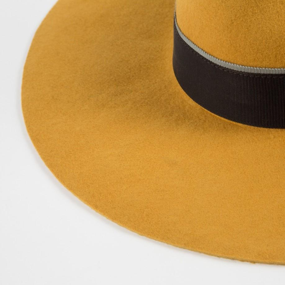 85471130 Paul Smith Mustard Wool Wide-Brim Fedora Hat in Yellow - Lyst