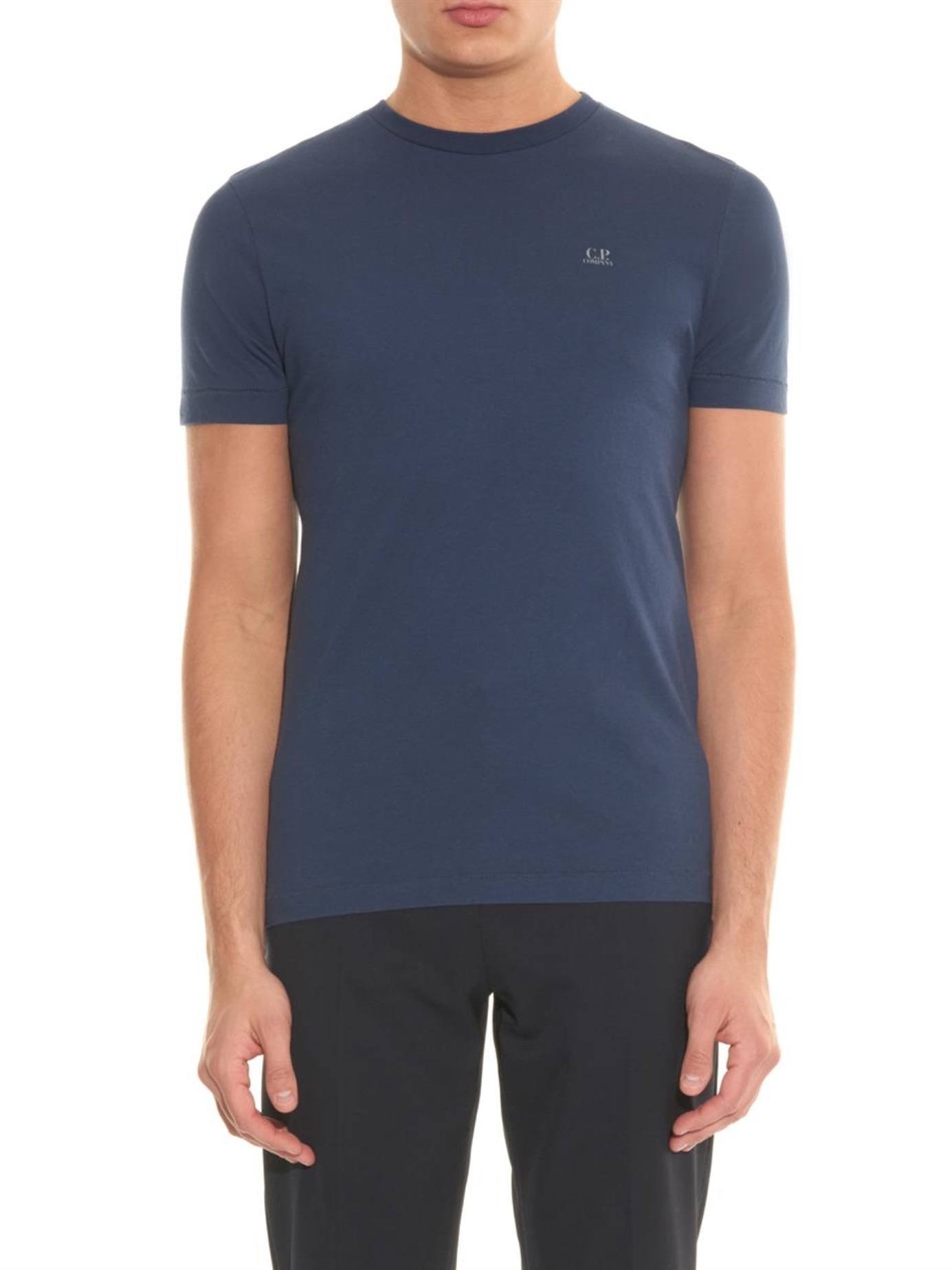 C p company goggle print cotton t shirt in blue for men lyst for Print company t shirts