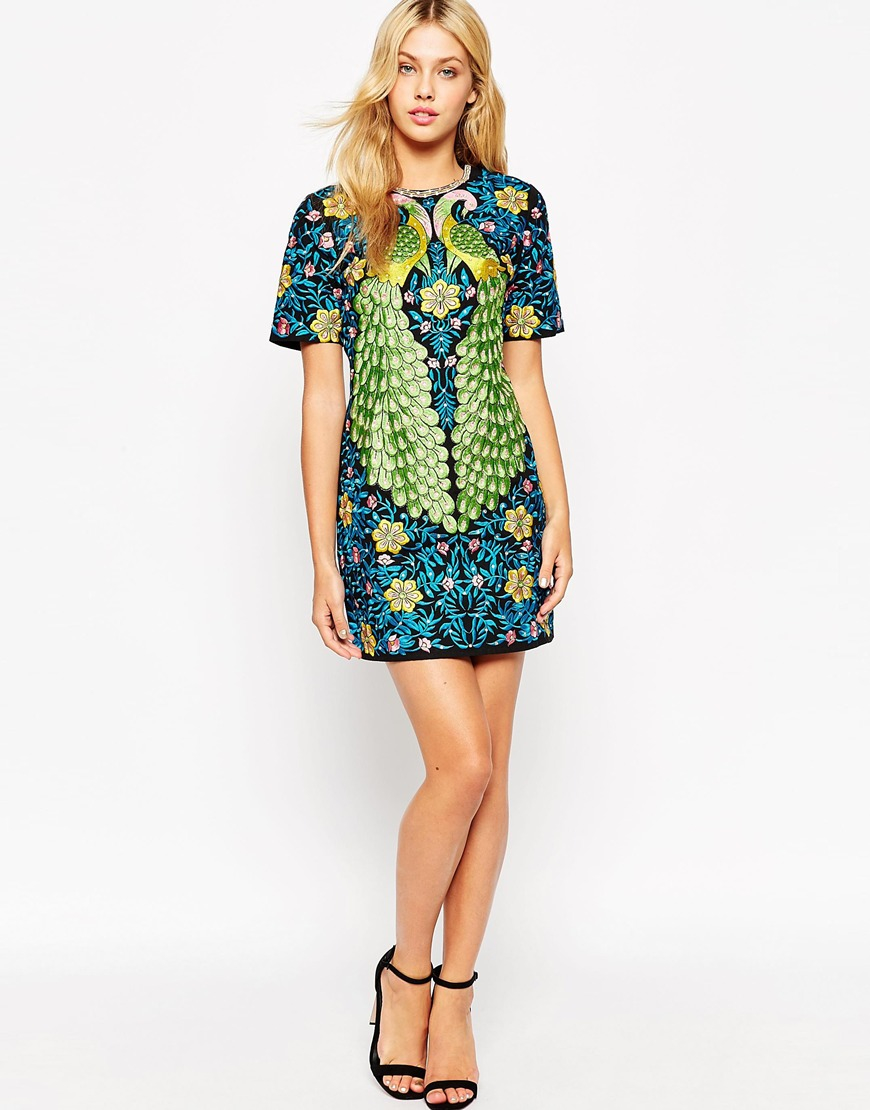 Asos Peacock Embroidered Shift Dress in Green | Lyst