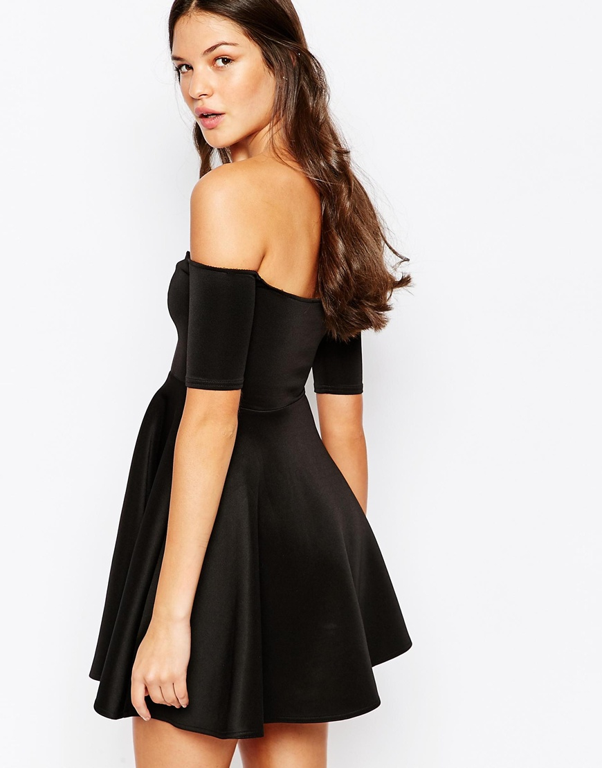 6b89e88d26 Oh My Love Off Shoulder Skater Dress in Black - Lyst