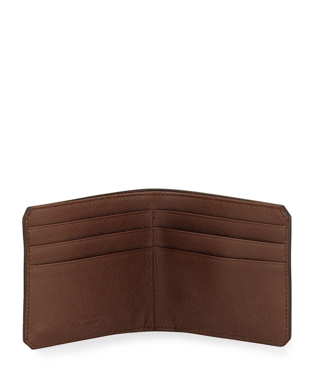 prada leather wallet on a chain - Prada American Saffiano Bi-fold Wallet in Brown for Men | Lyst