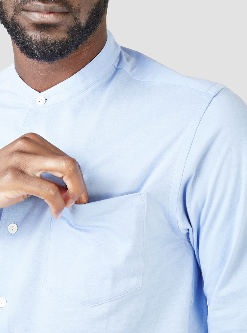 Blurhms Super Soft Banded Collar Shirt Blue In Blue For