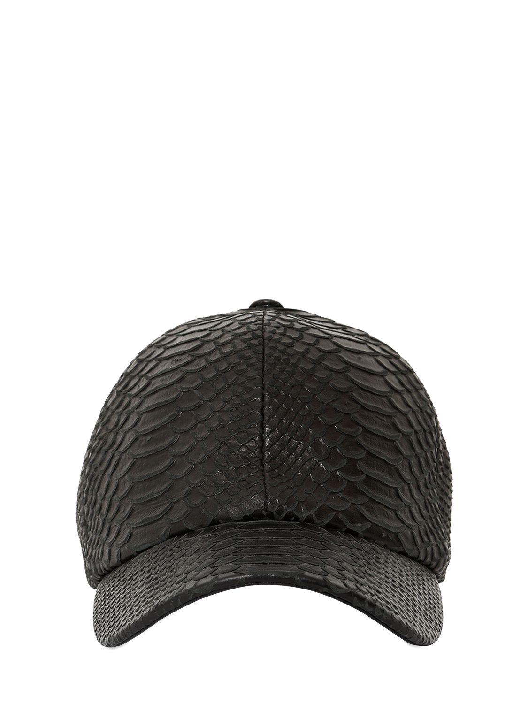 Lyst - Neil Barrett Python Embossed Leather Baseball Hat in Black 5a943ec1424