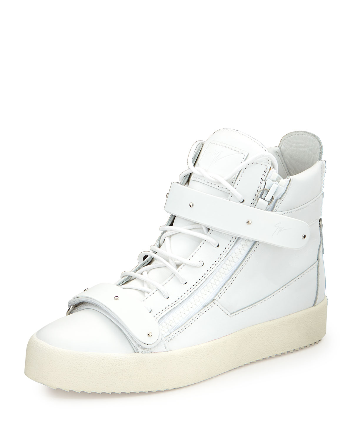 giuseppe zanotti s matte leather high top sneaker in