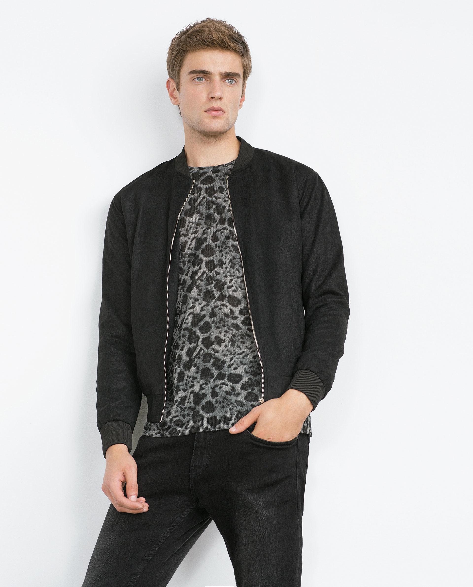 Zara Zip Jacket In Black For Men Lyst
