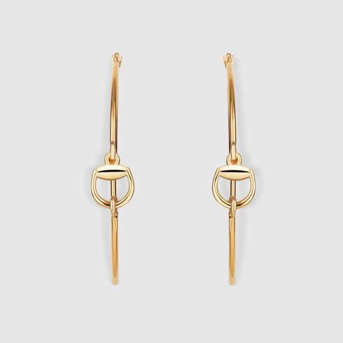 cc8305da7e2 Lyst - Gucci Horsebit Hoop Earrings In Gold in Metallic