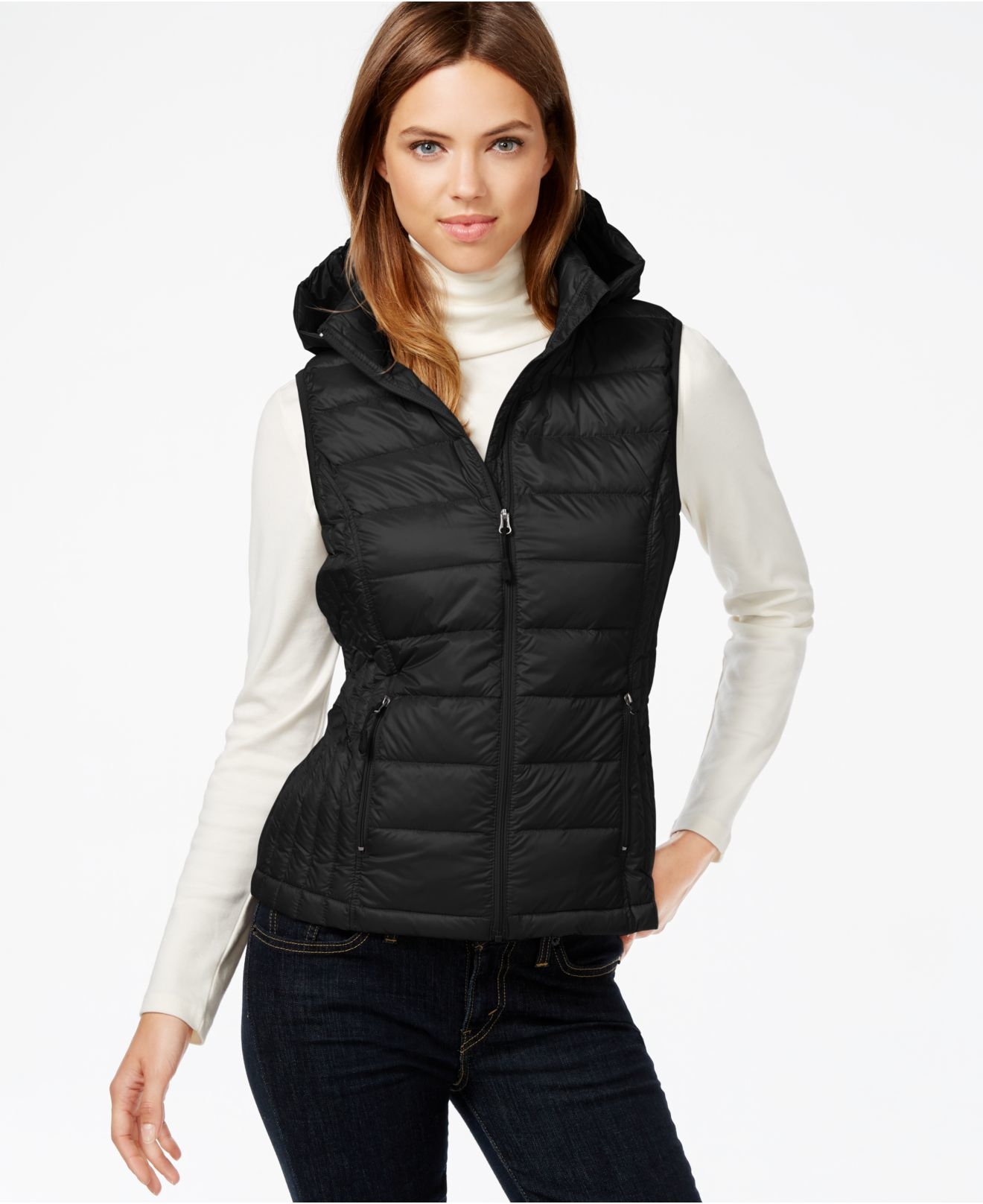 32 Degrees Hooded Packable Down Vest In Black Lyst