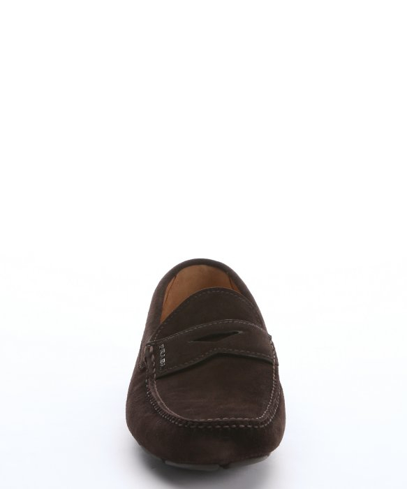 65b3c5ddc06 ... australia lyst prada dark brown suede penny loafers in brown for men  2492d 02755