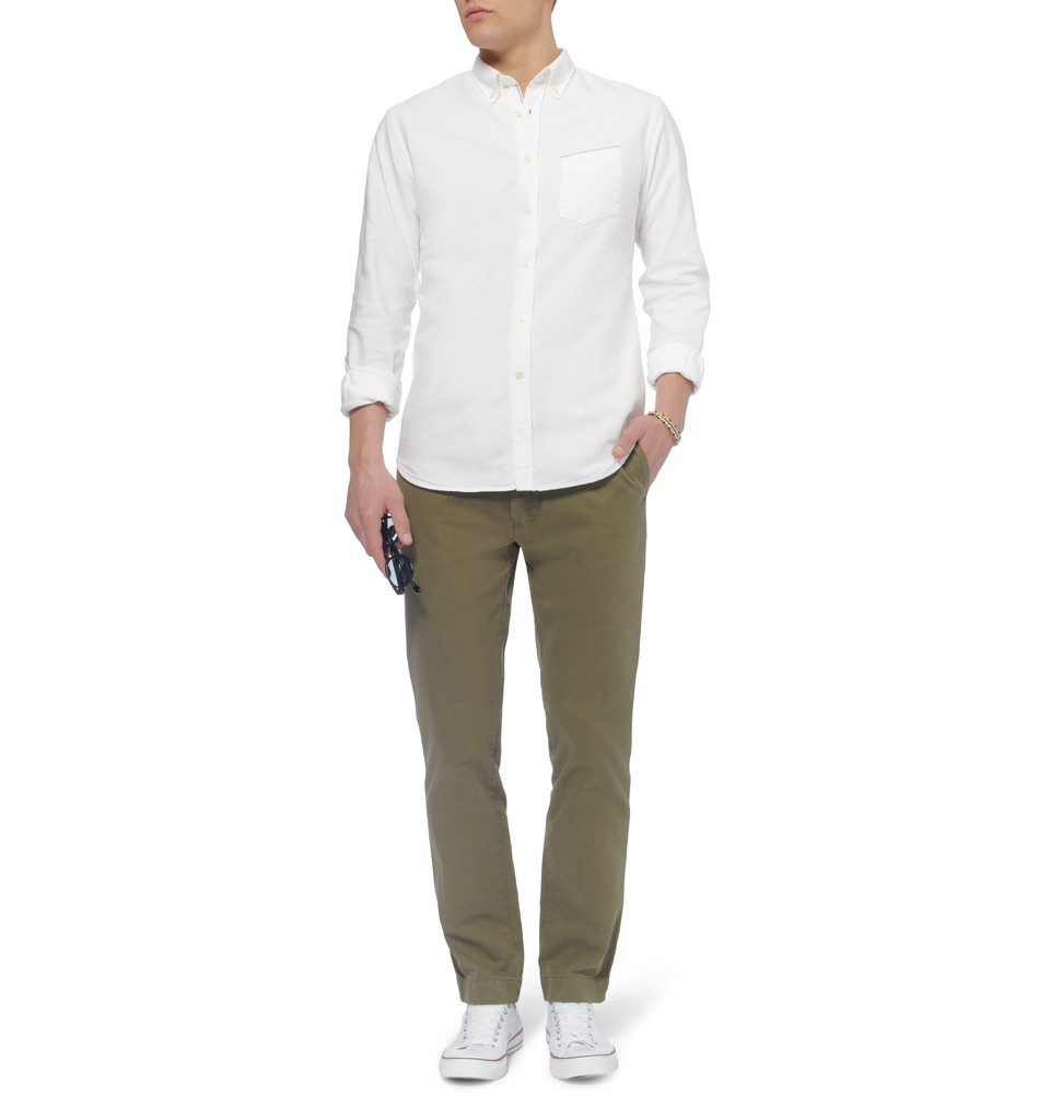 Lyst officine generale red selvedge button down collar for White button down collar oxford shirt