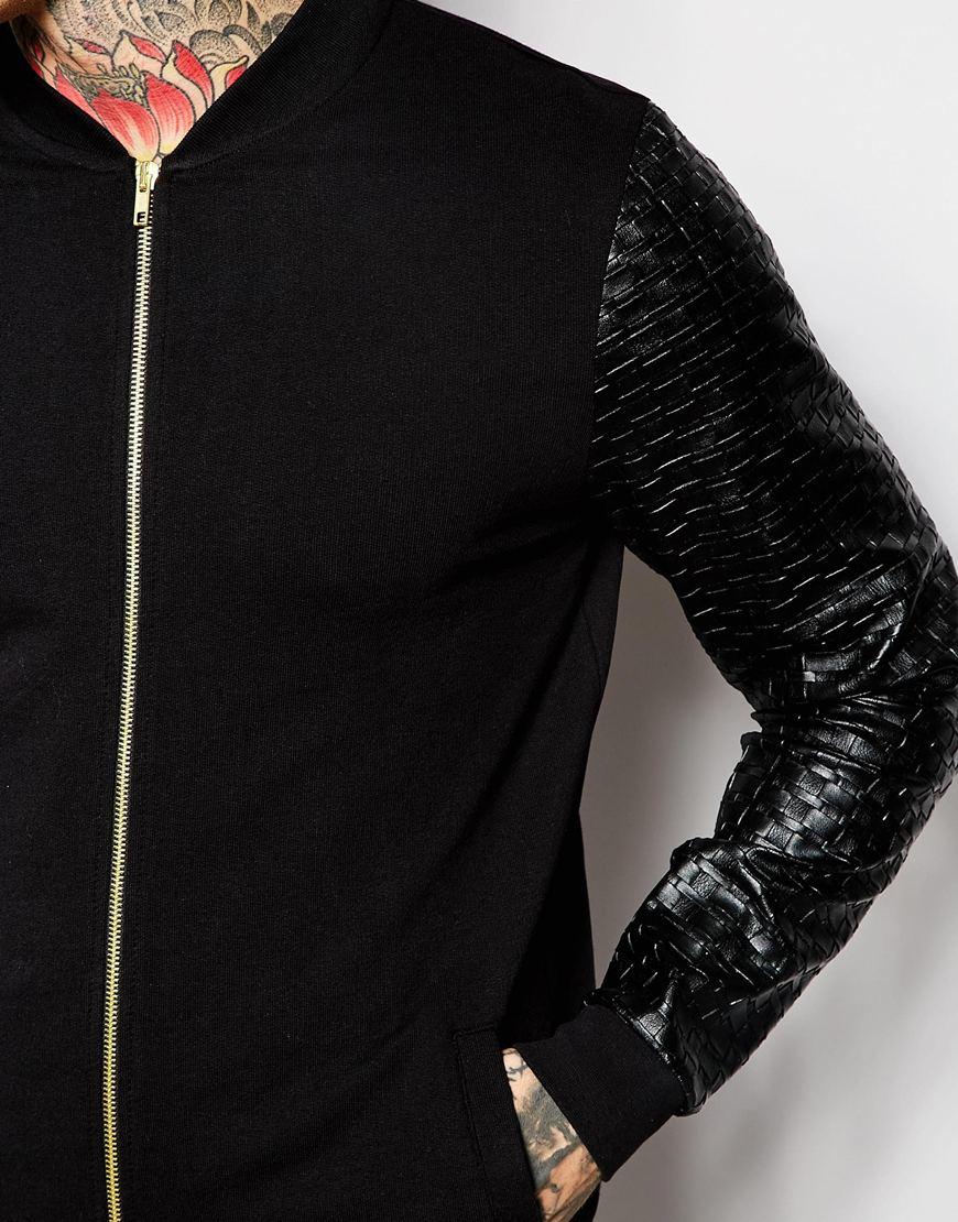 Asos Bomber Jacket In Jersey With Gold Zips And Faux Leather ...