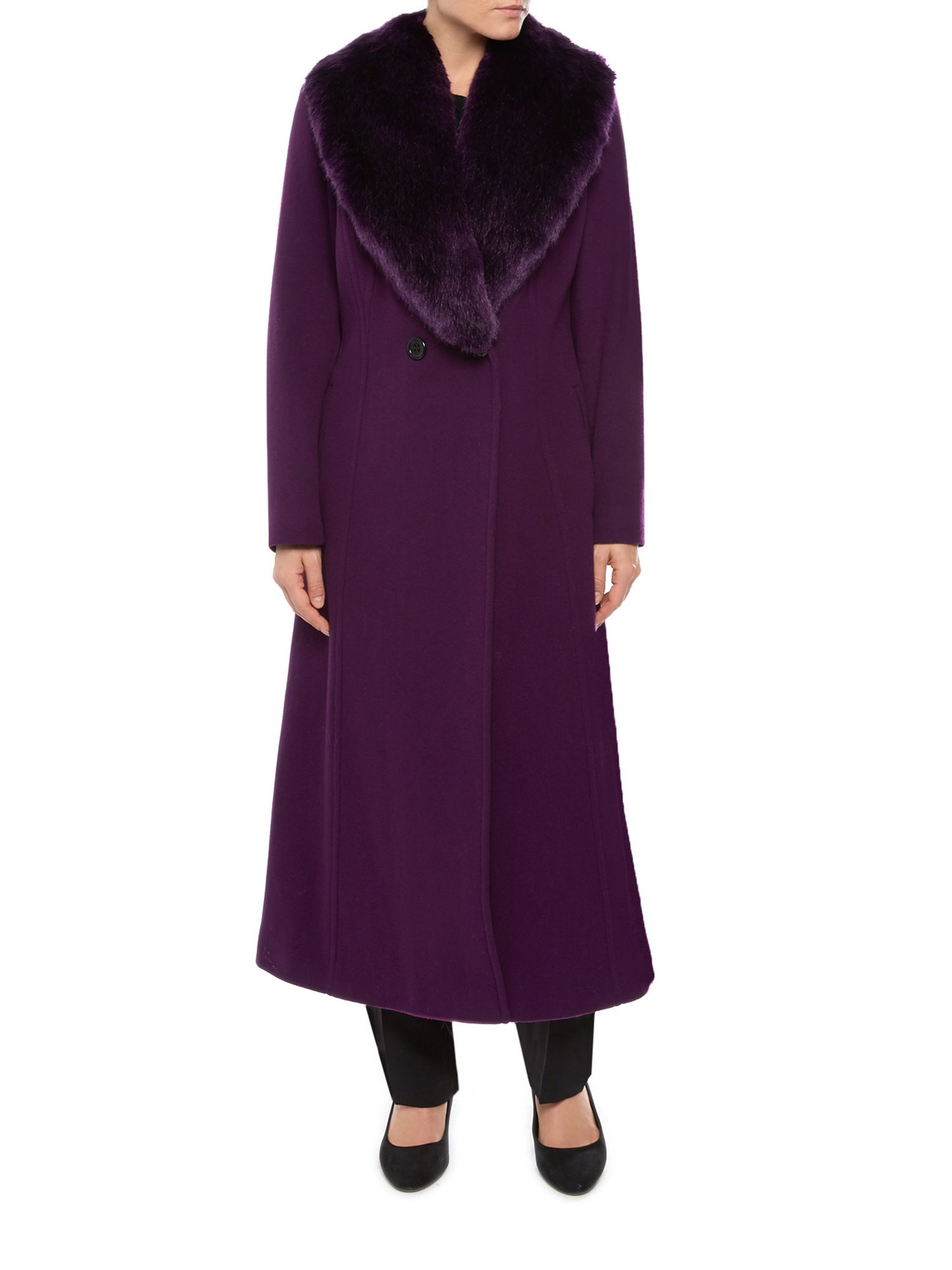 Jacques vert Long Fur Collar Coat in Purple | Lyst