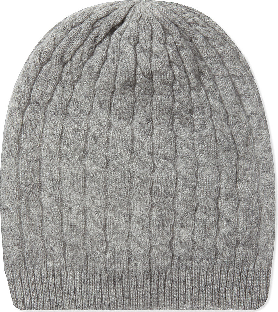 Johnstons Cable Knit Cashmere Beanie in Gray (Light grey ...
