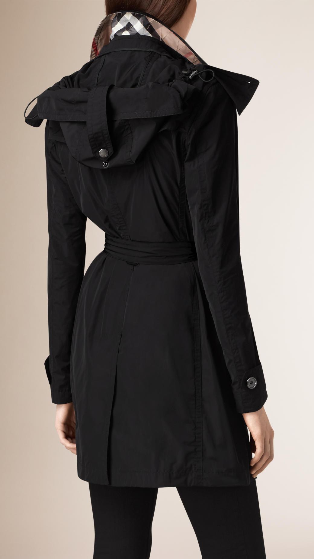 Lyst - Burberry Hooded Taffeta Trench Coat in Black