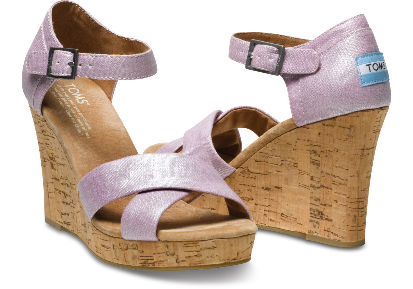 3826ab981a5 Lyst - TOMS Metallic Linen Women S Strappy Wedges in Purple