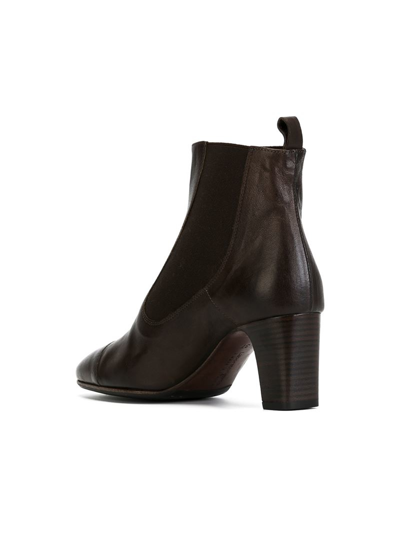 laboratorigarbo chunky heel leather boots in brown lyst