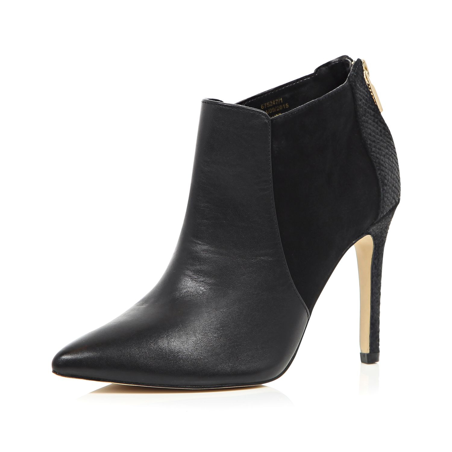 River Island Black Leather Knee High Heeled Boots