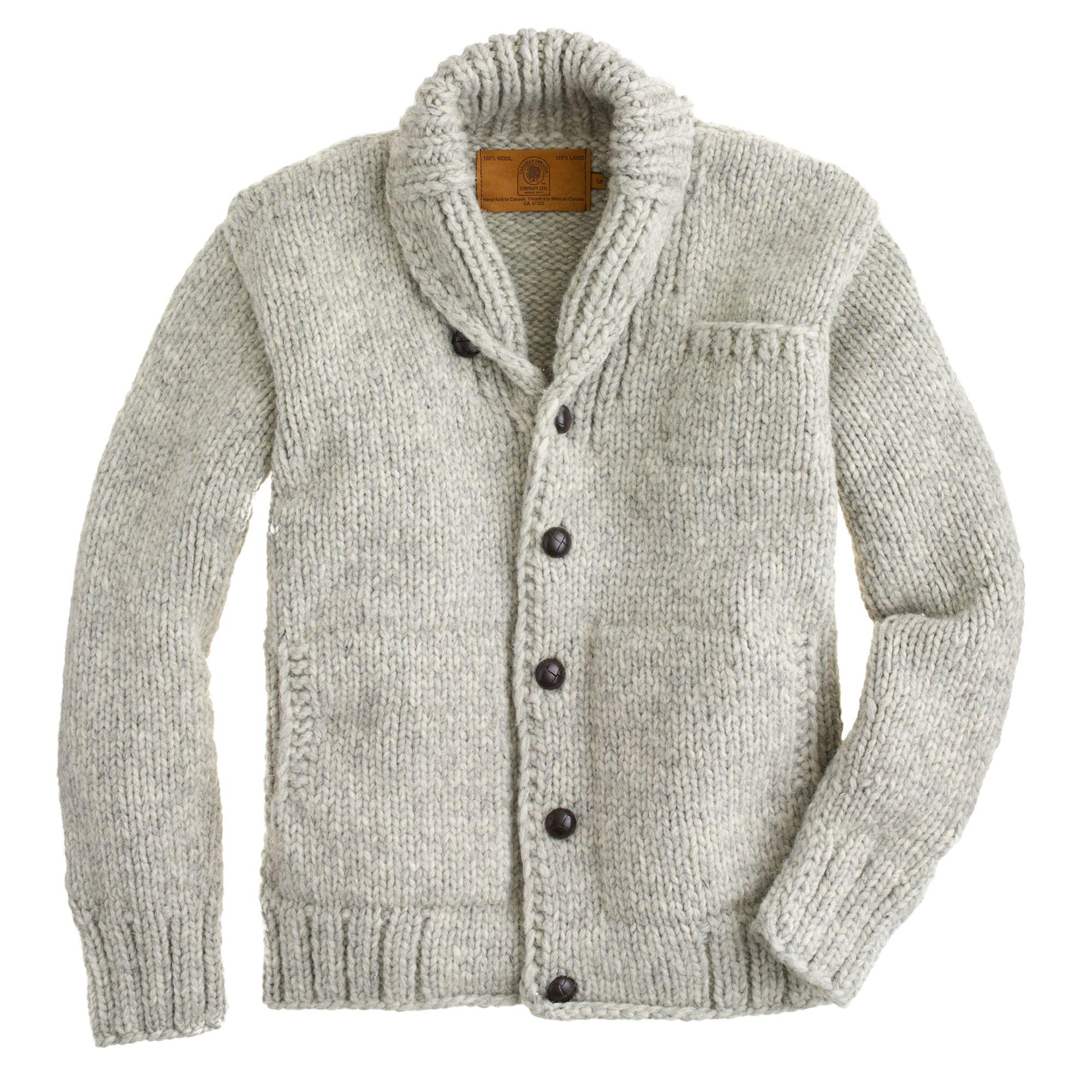 J Crew Canadian Sweater Company Cowichan Cardigan In Grey