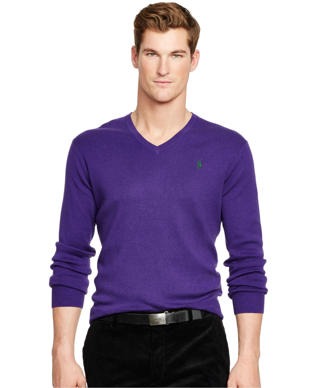 lyst polo ralph lauren pima v neck sweater in purple for men. Black Bedroom Furniture Sets. Home Design Ideas