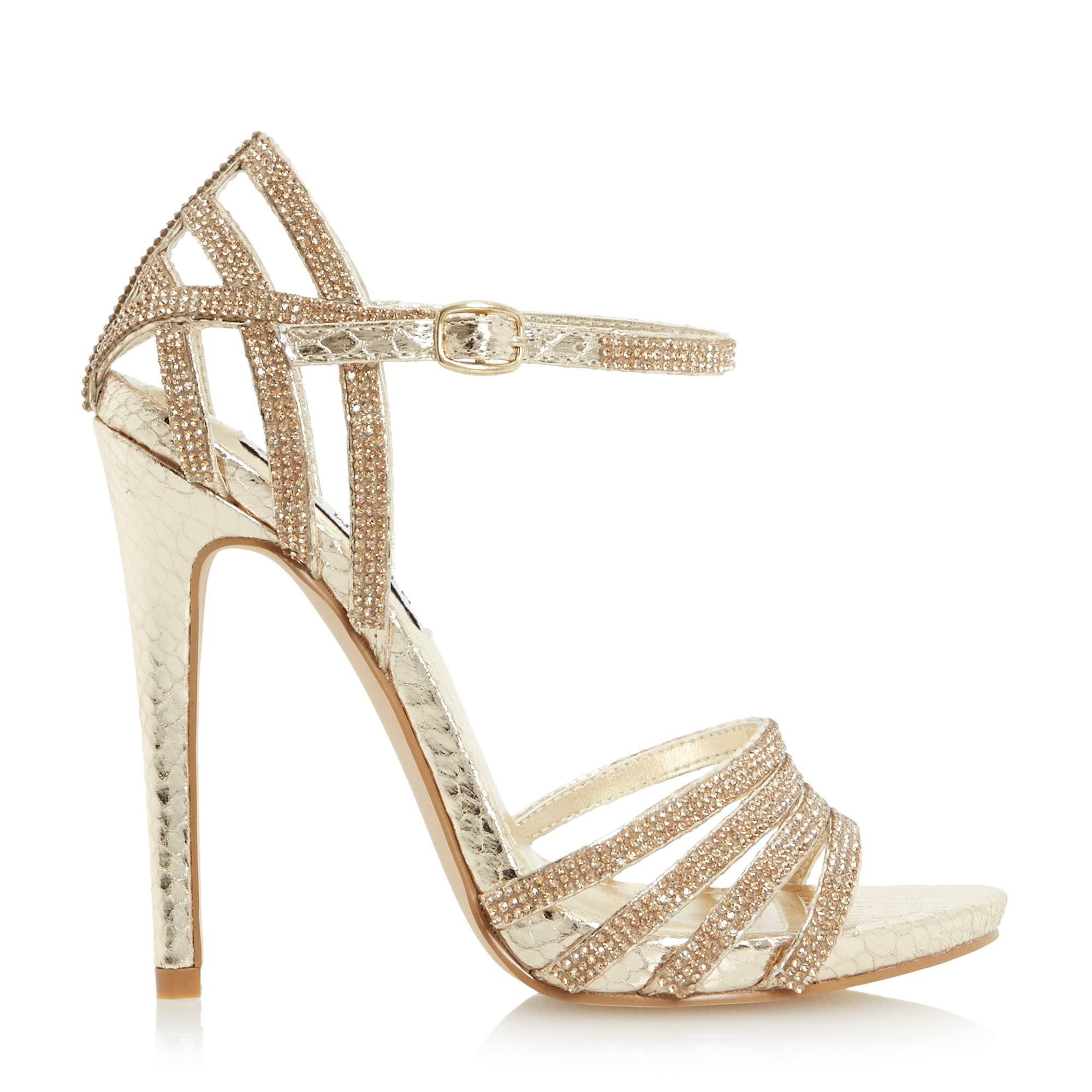 steve madden cagged diamante strappy high heel sandal in. Black Bedroom Furniture Sets. Home Design Ideas