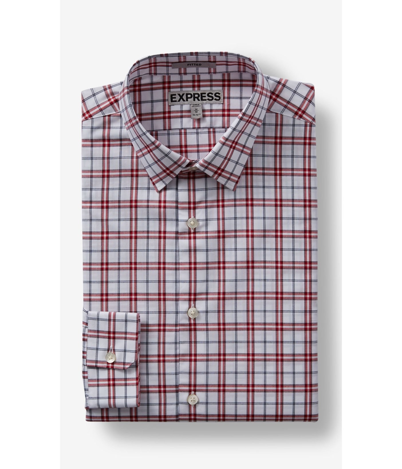 Express fitted small plaid dress shirt in red for men lyst for Red plaid dress shirt