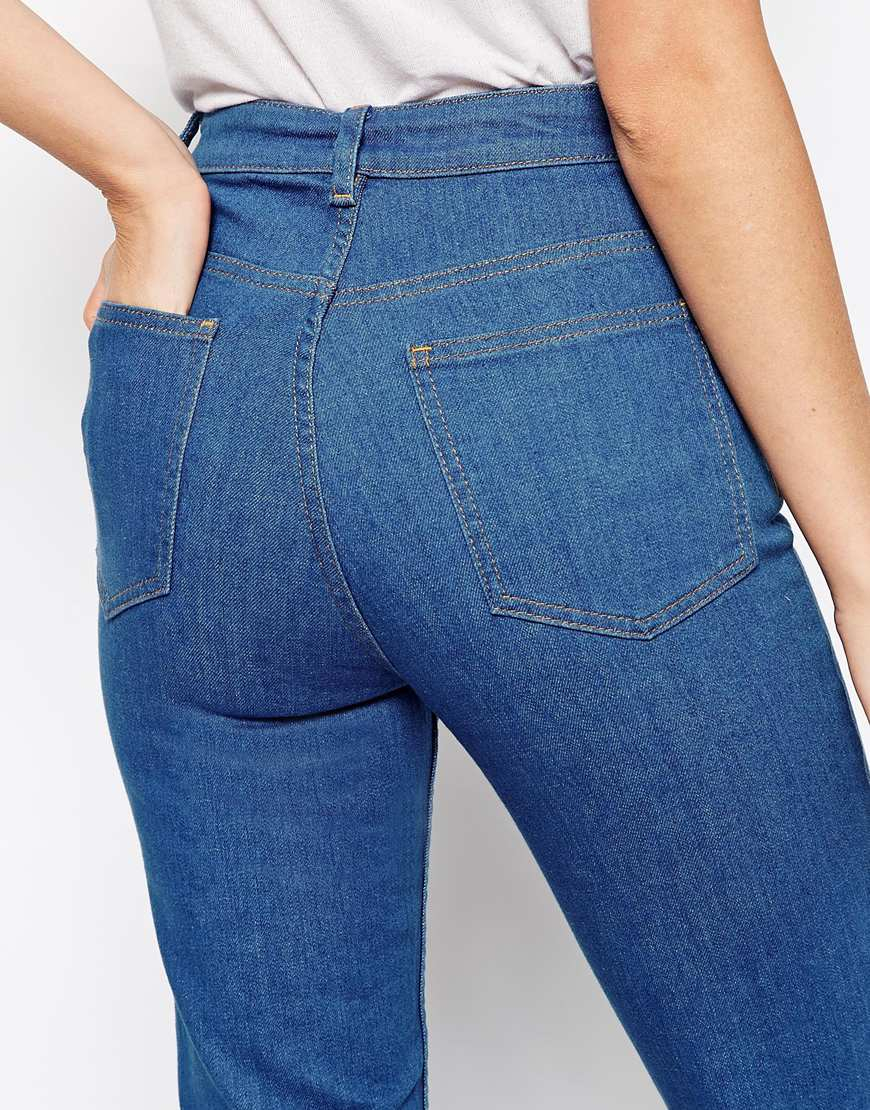 02774df08ac ASOS Farleigh High Waist Slim Mom Jeans In Junior 70 s Blue Wash in Blue -  Lyst
