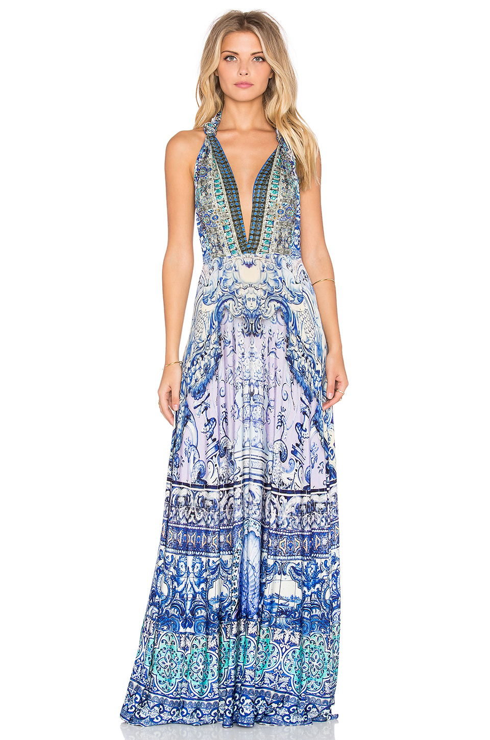 Camilla Concubine Realm Sheer Overlay Dress in Blue