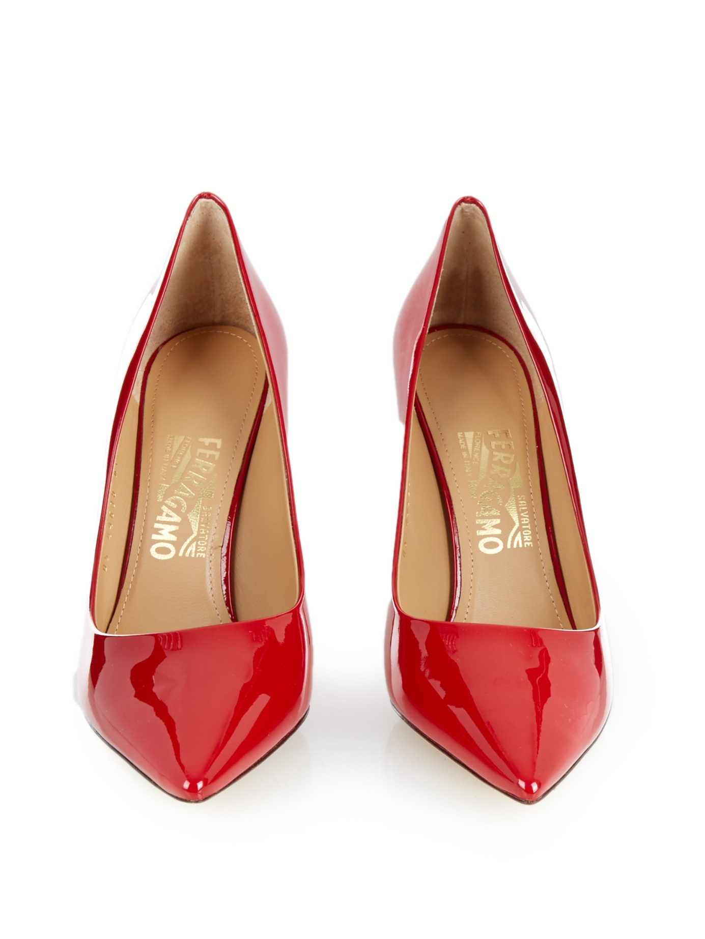 6d43d8ab67b46 Lyst - Ferragamo Susi Patent Leather Pumps in Red