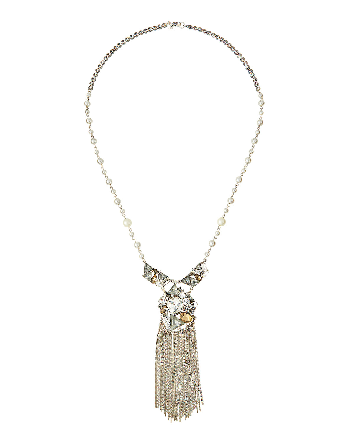 Lydell Nyc Short Pearly Necklace w/ Crystals w73xl5k7V2