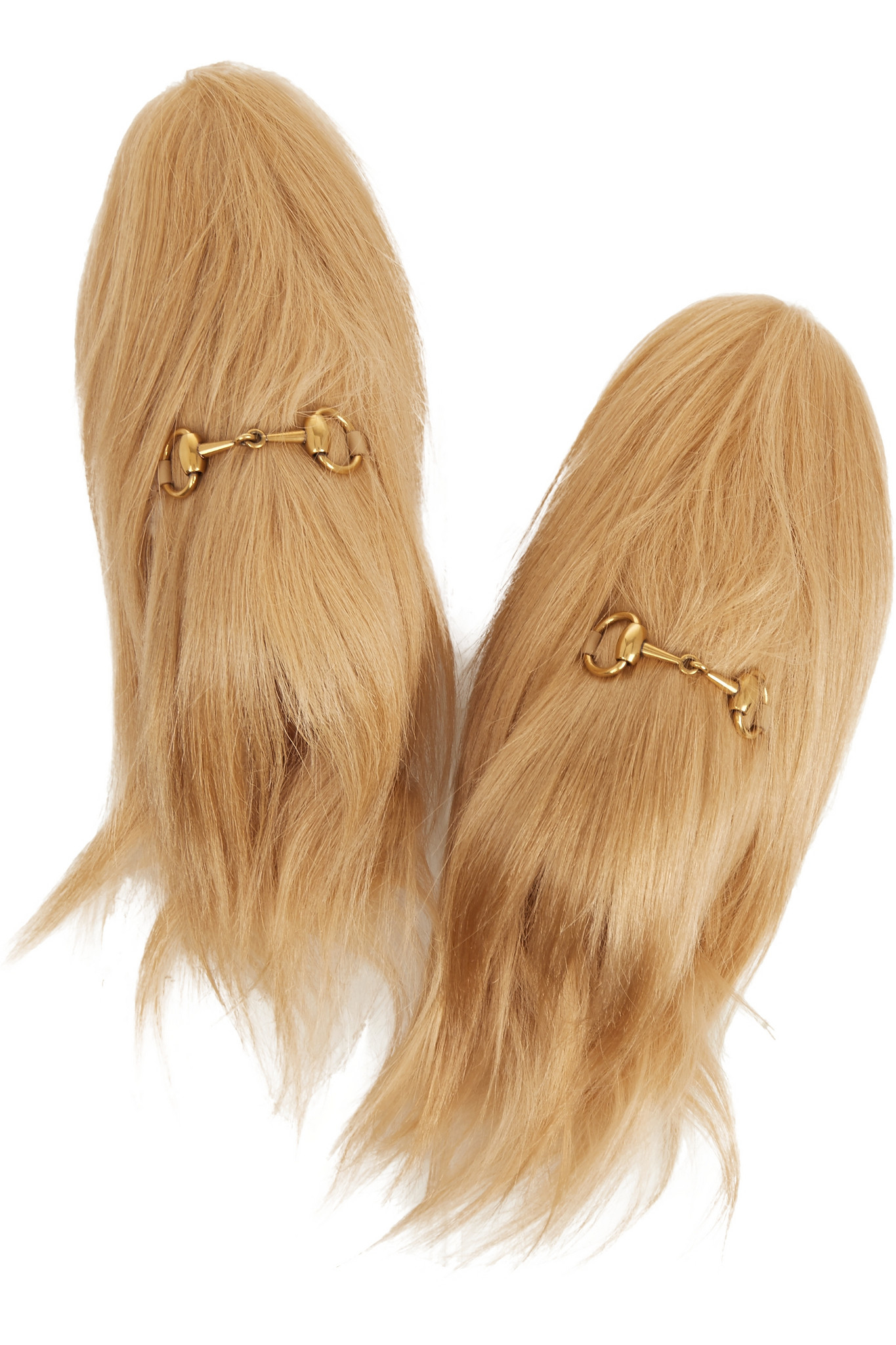 eb2d7c65014 Gucci Horsebit-detailed Goat Hair Slippers in Natural - Lyst