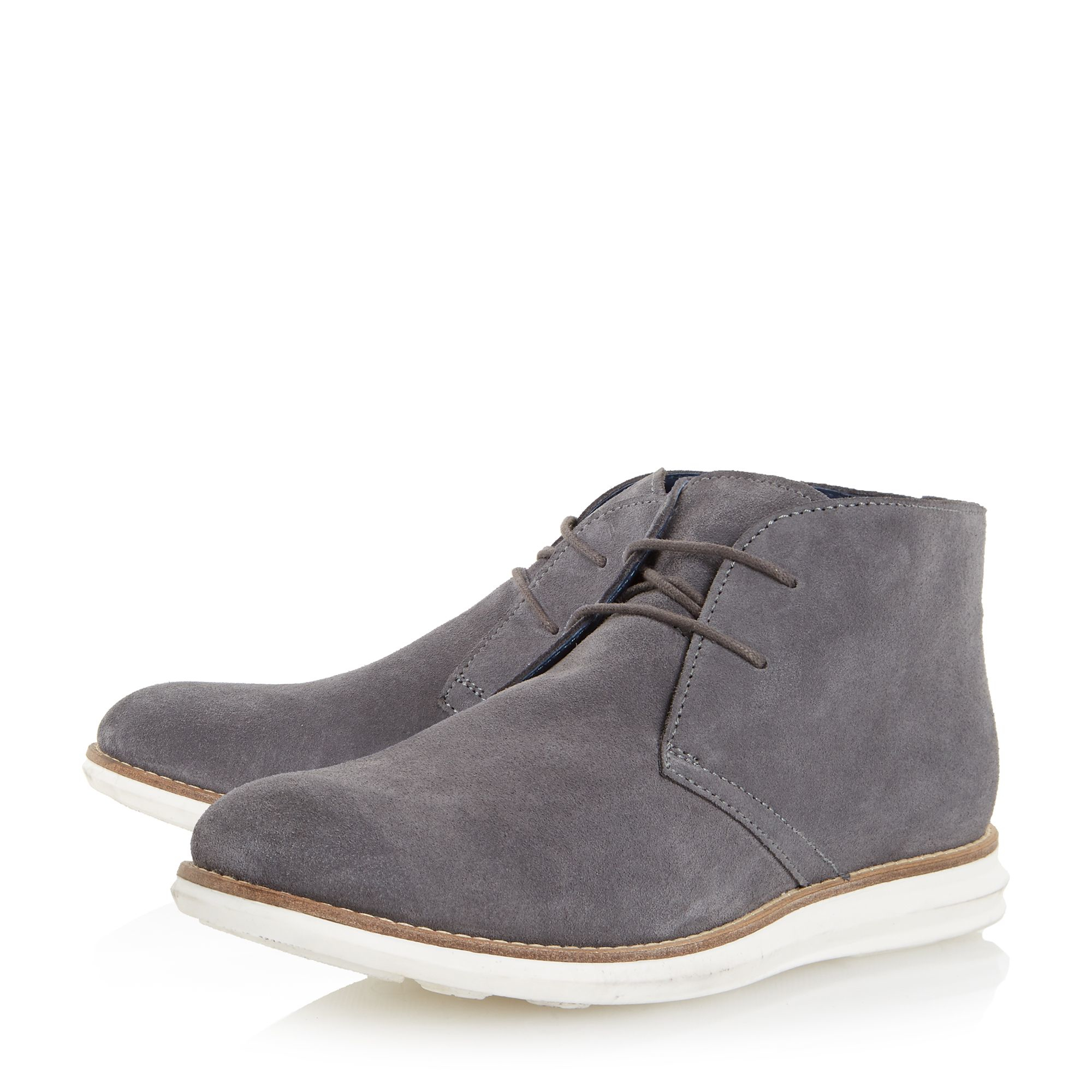 dune cove suede hybrid wedge boots in gray for lyst