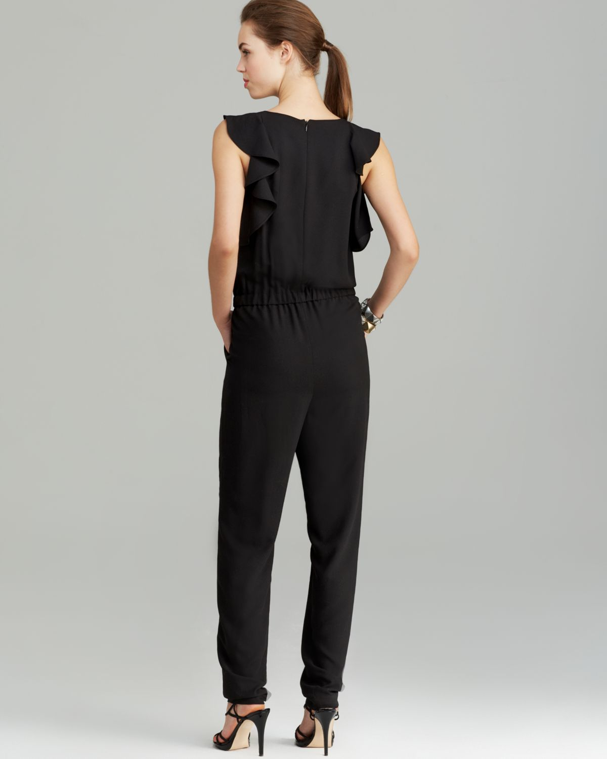 bafb21439a8d Lyst - Shoshanna Sleeveless Ruffle-side Jumpsuit in Black