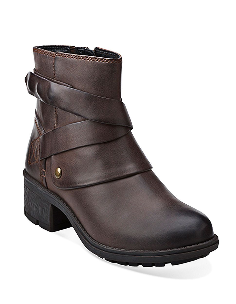 clarks mansi calla leather boots in brown lyst