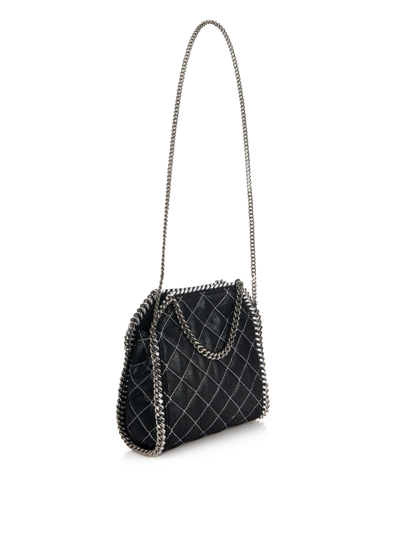 4ce40bee72e0 Lyst - Stella McCartney Falabella Small Quilted Cross-Body Bag in Black