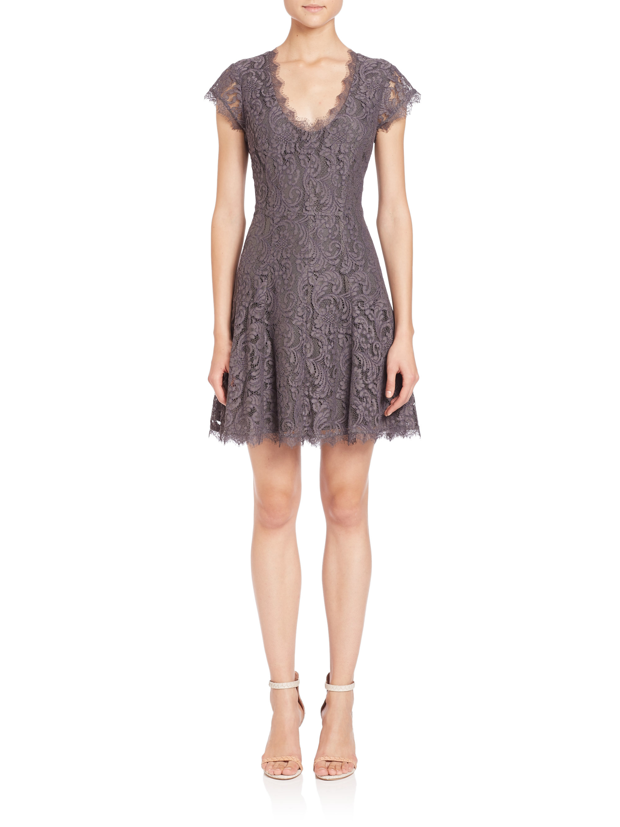 Joie Eshe Lace Fit Amp Flare Dress In Gray Lyst