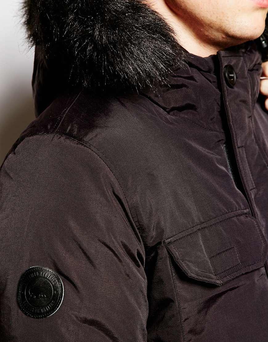 Mens black fur coat with hood