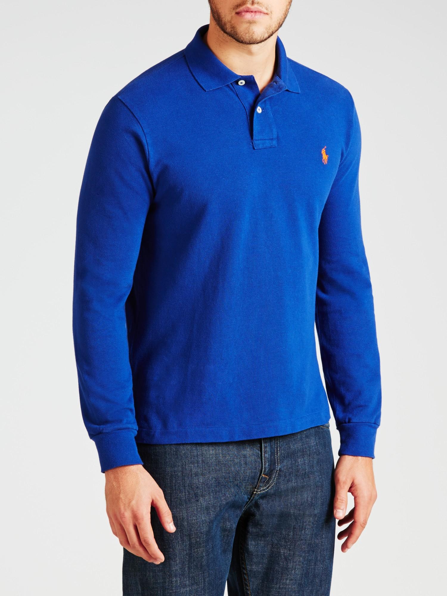 a2599b68 Polo Ralph Lauren Custom Fit Long Sleeve Polo Shirt in Blue for Men ...
