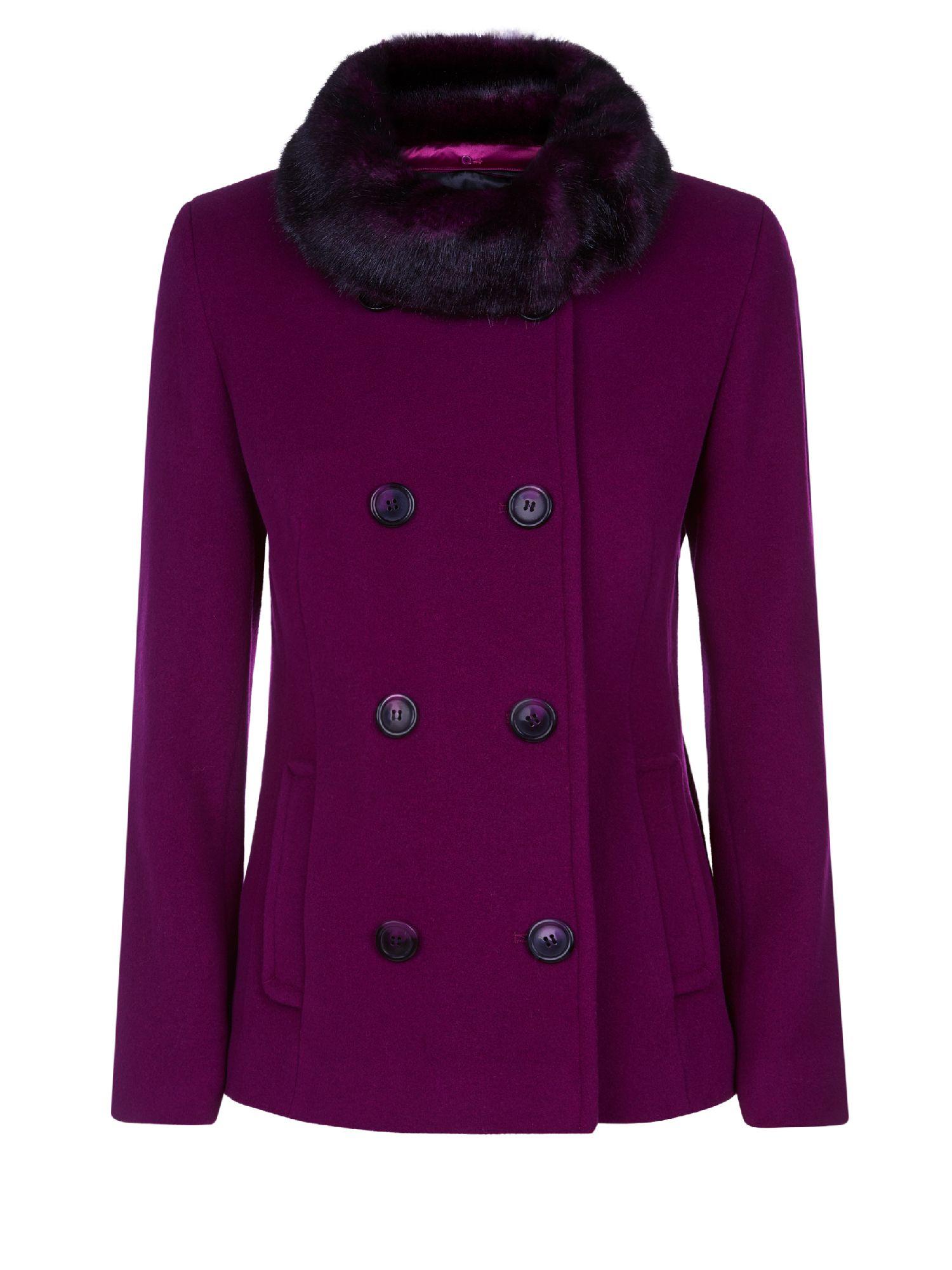 Precis Petite Short Wool Coat In Purple | Lyst