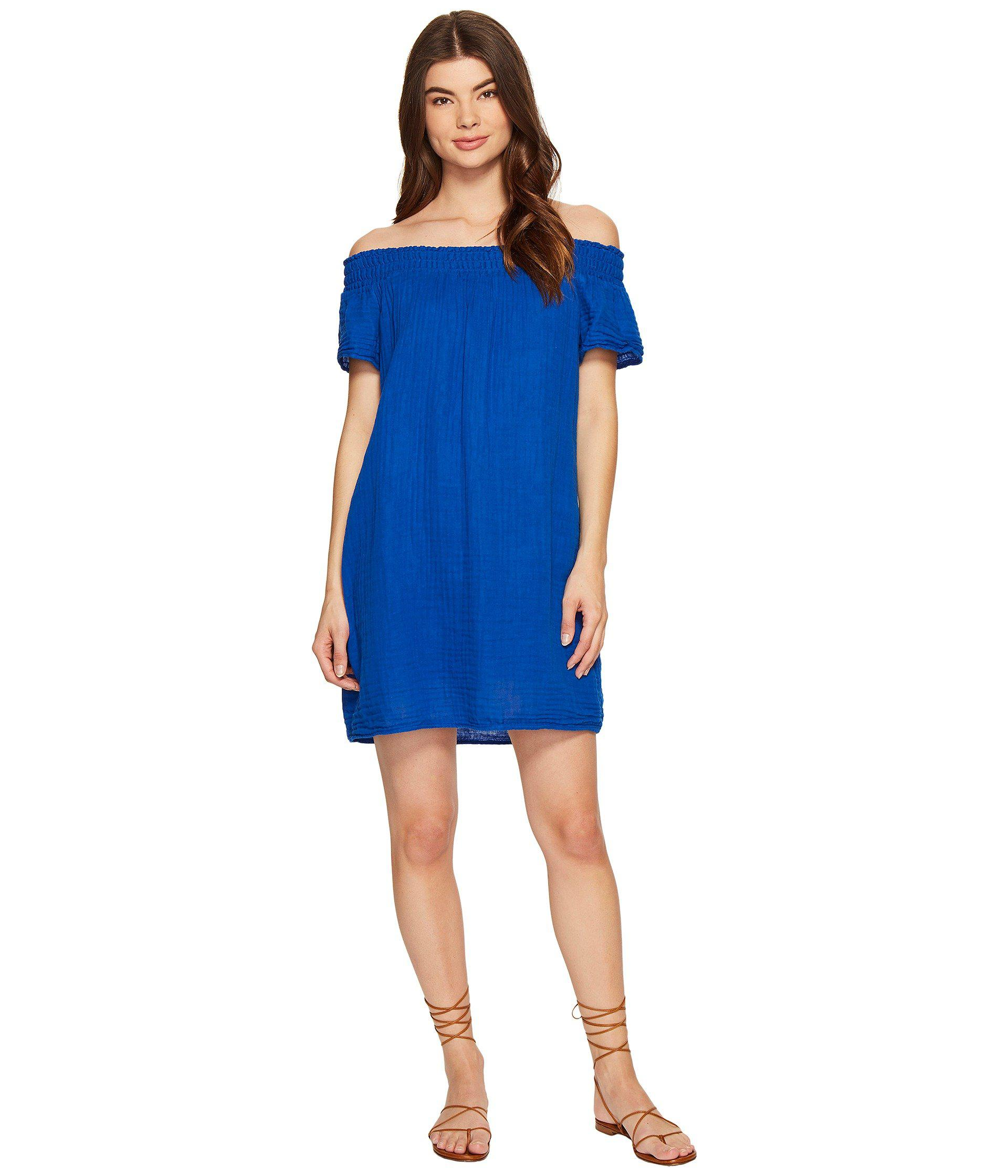 a43780bec40 Lyst - Michael Stars Double Gauze Smocked Off Shoulder Dress in Blue