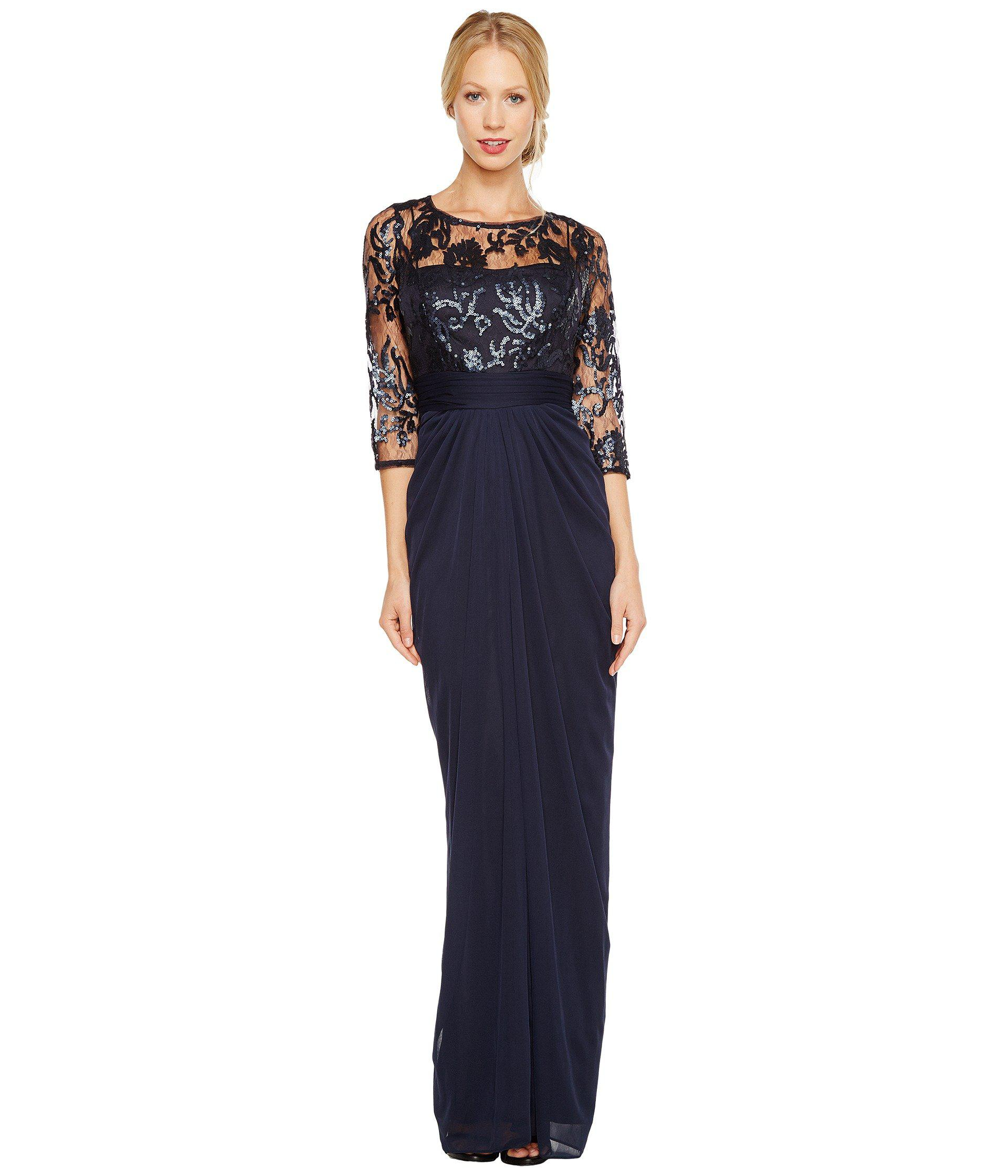9d82325a30a13 Lyst - Adrianna Papell Embroidered Sequin Bodice Drape Gown in Blue
