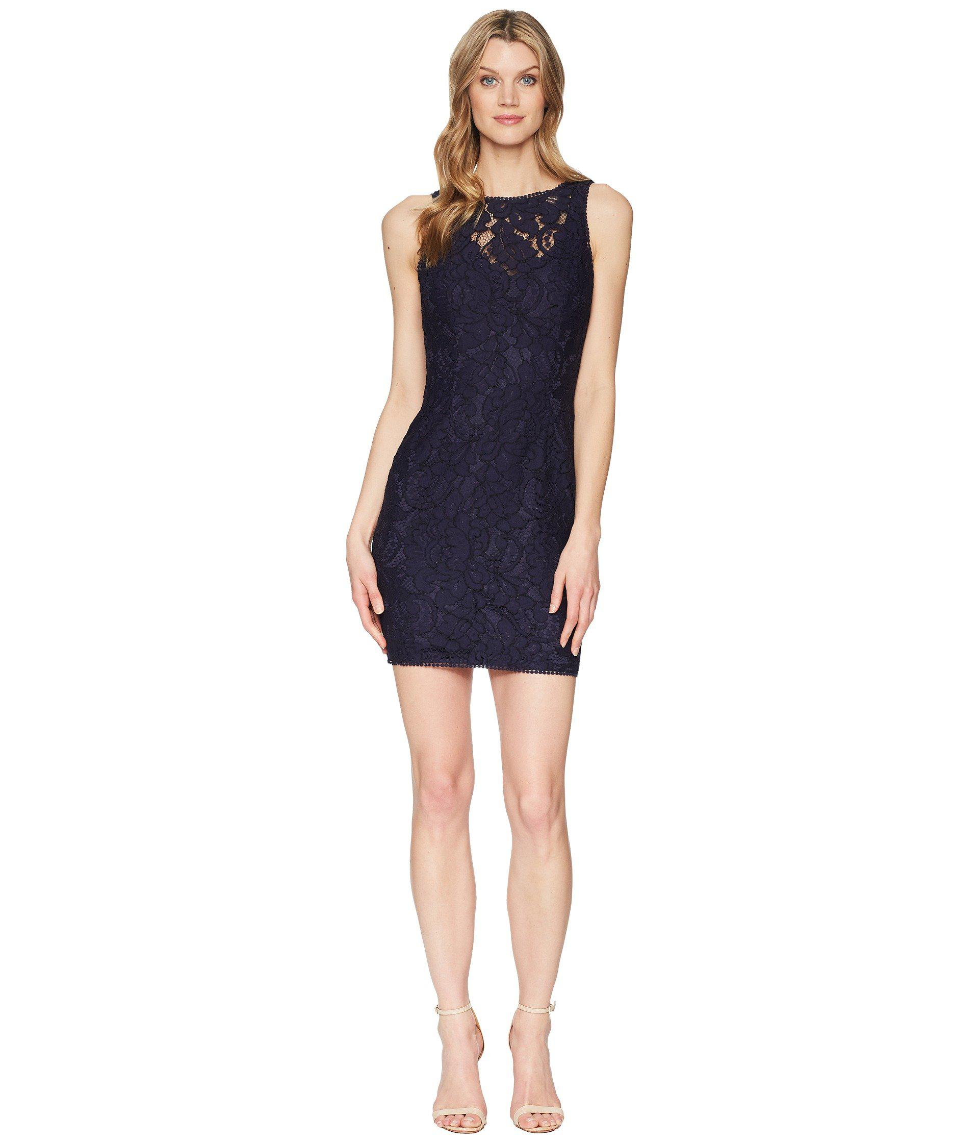 d2162328 Lyst - Adrianna Papell Lace Sheath Dress in Blue - Save 35%