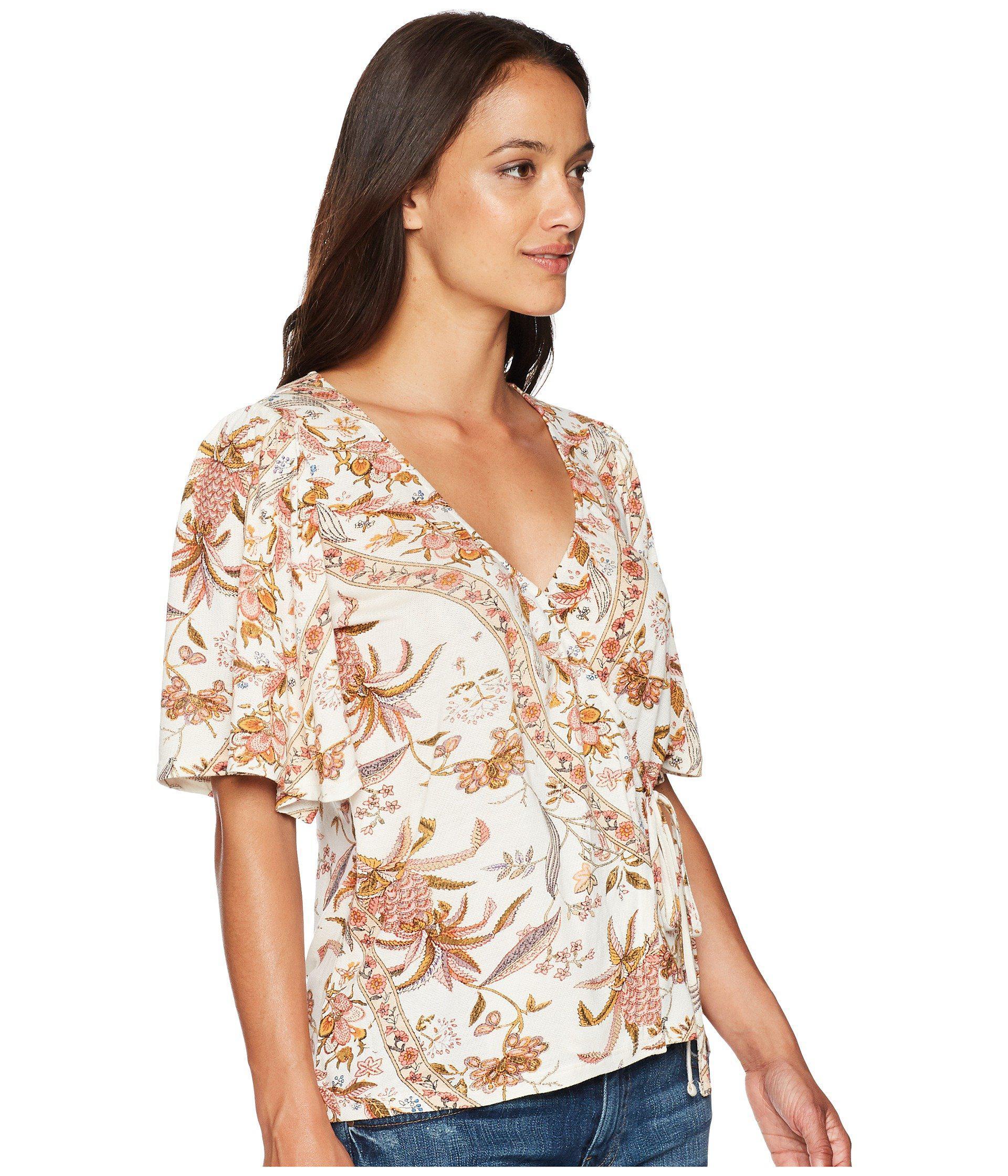 15d87676a42486 Lucky Brand - Brown Floral Print Wrap Top - Lyst. View fullscreen