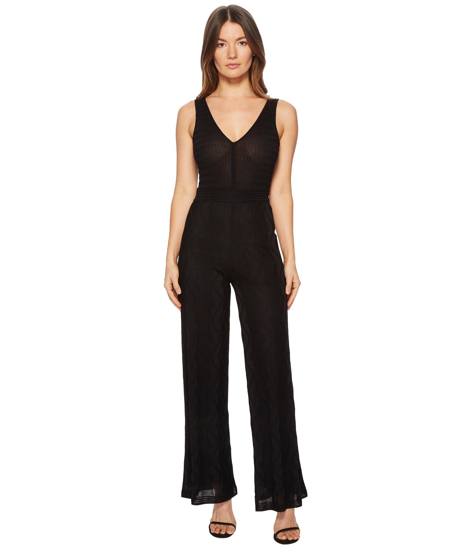 2d3cb78fe7 Lyst - M Missoni Solid Knit V-neck Jumpsuit in Black - Save 60%