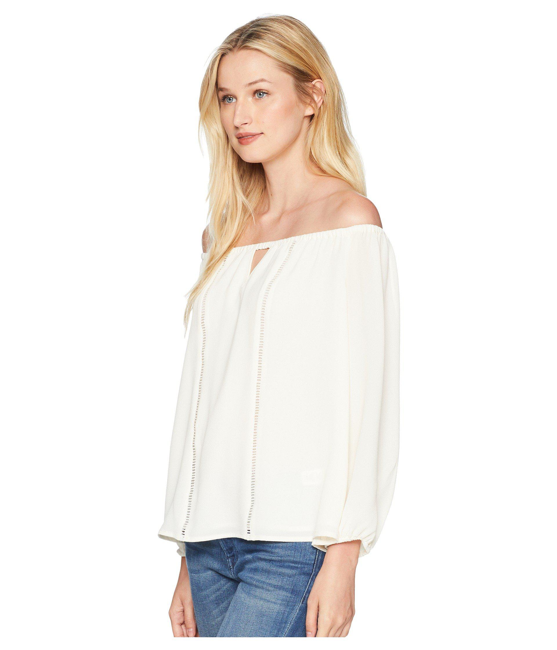 ef040b3daa6e97 Lyst - Cece 3 4 Sleeve Off The Shoulder Blouse With Faggoting in White -  Save 56%
