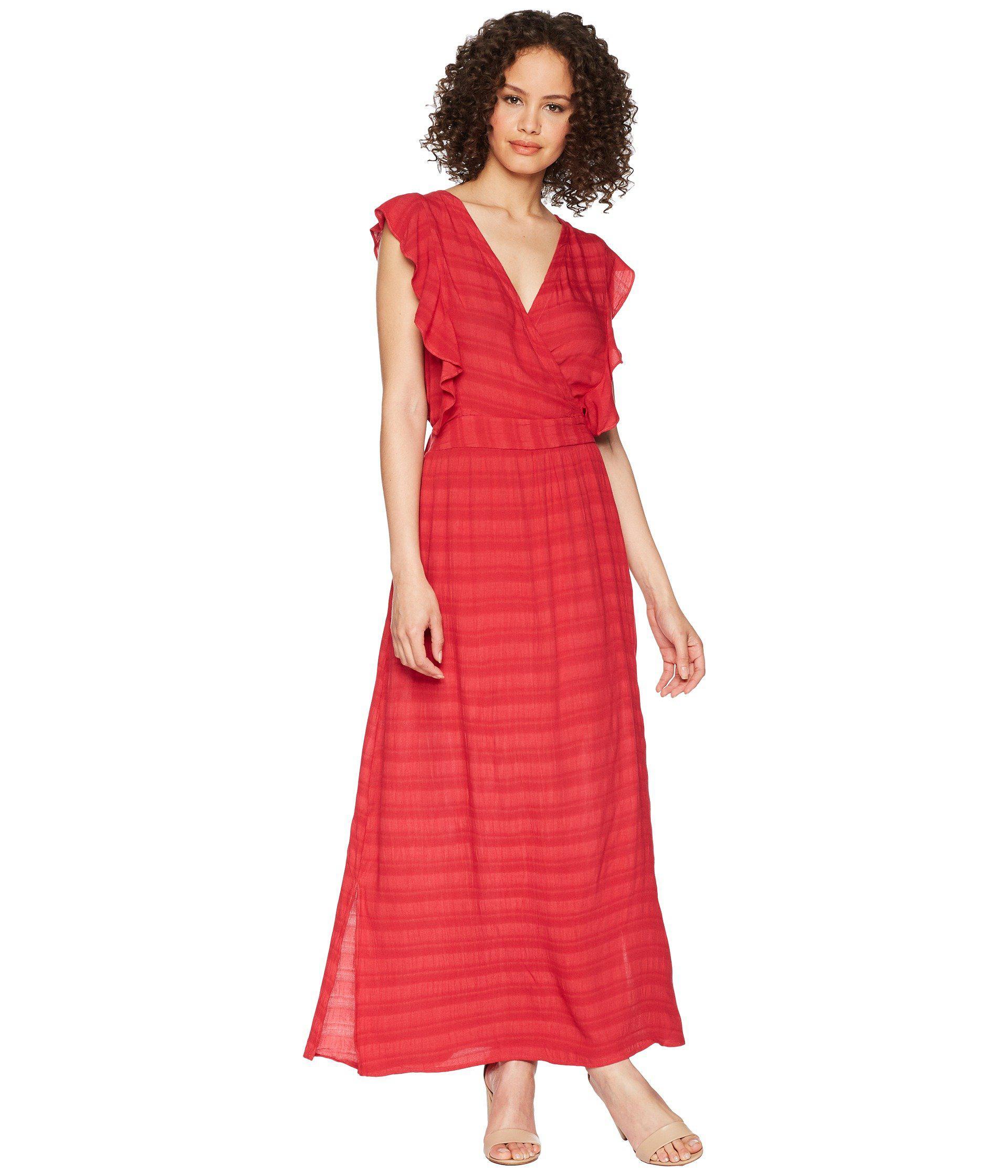 c4b7cdf40d9 Lyst - Michael Stars Plissé Ruffle Maxi Dress in Red - Save 32%
