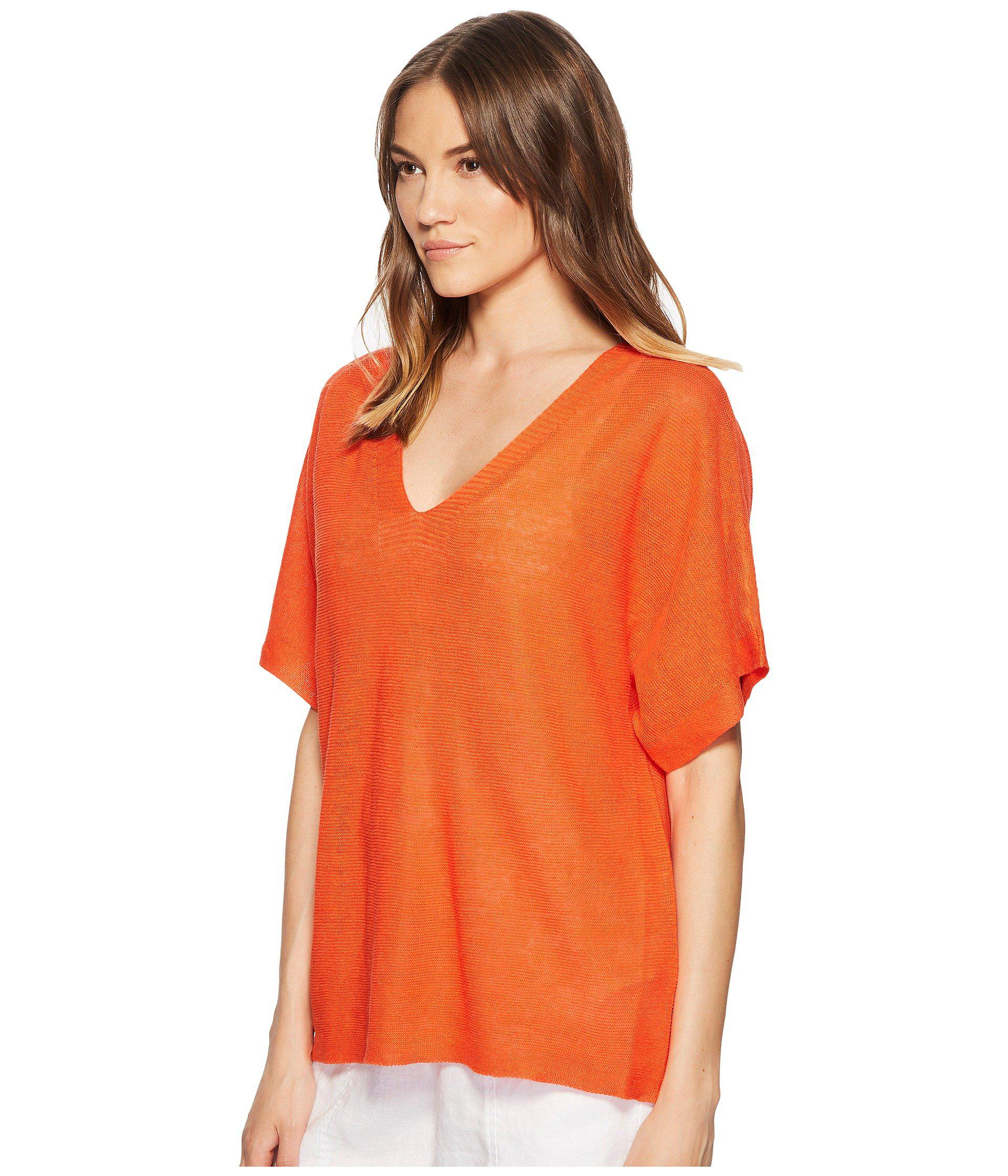 1bddef86b90 Lyst - Eileen Fisher Deep V-neck Top in Orange - Save 41%