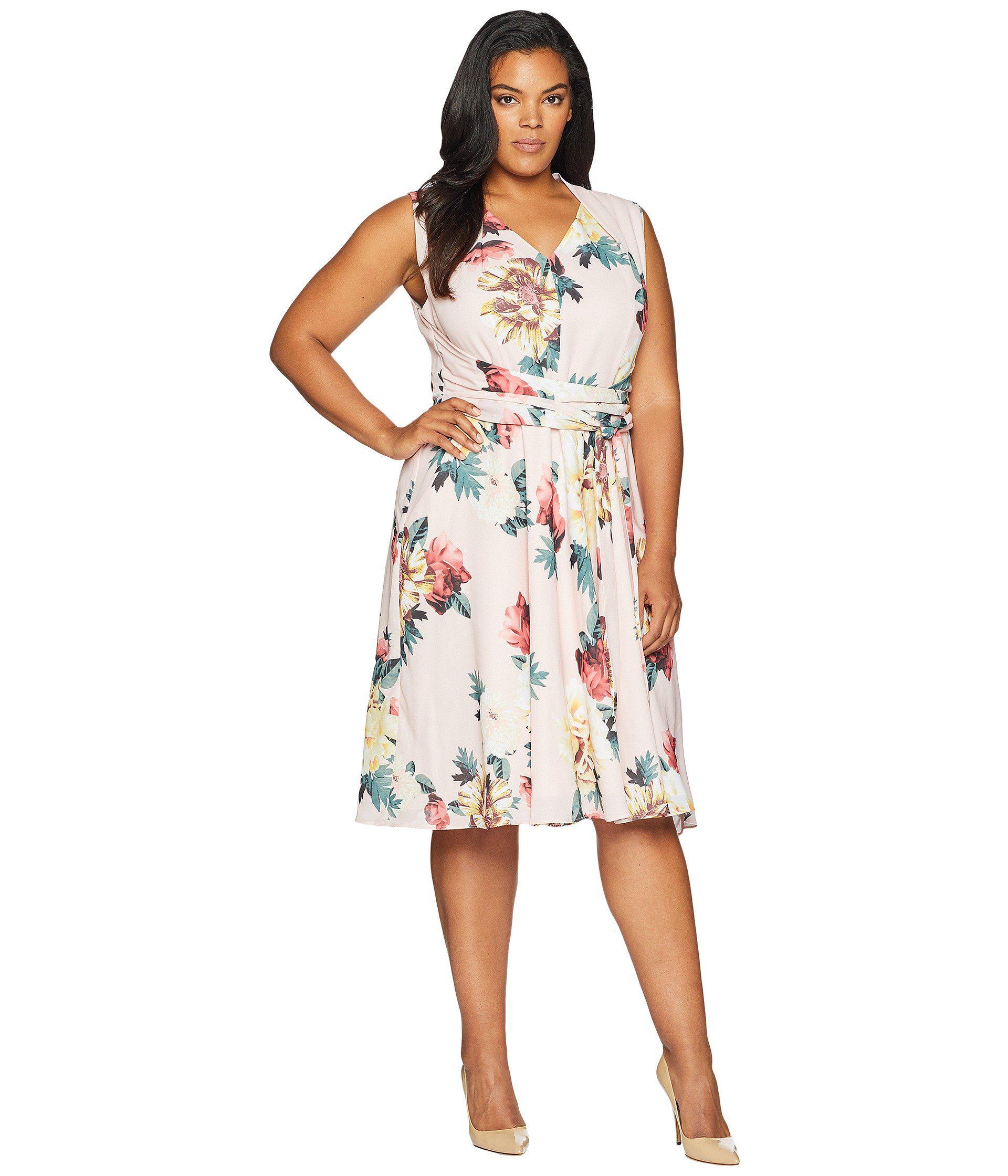 de47e62534f7 Lyst - Tahari Plus Size Georgette Wrap Waist Dress - Save 15%
