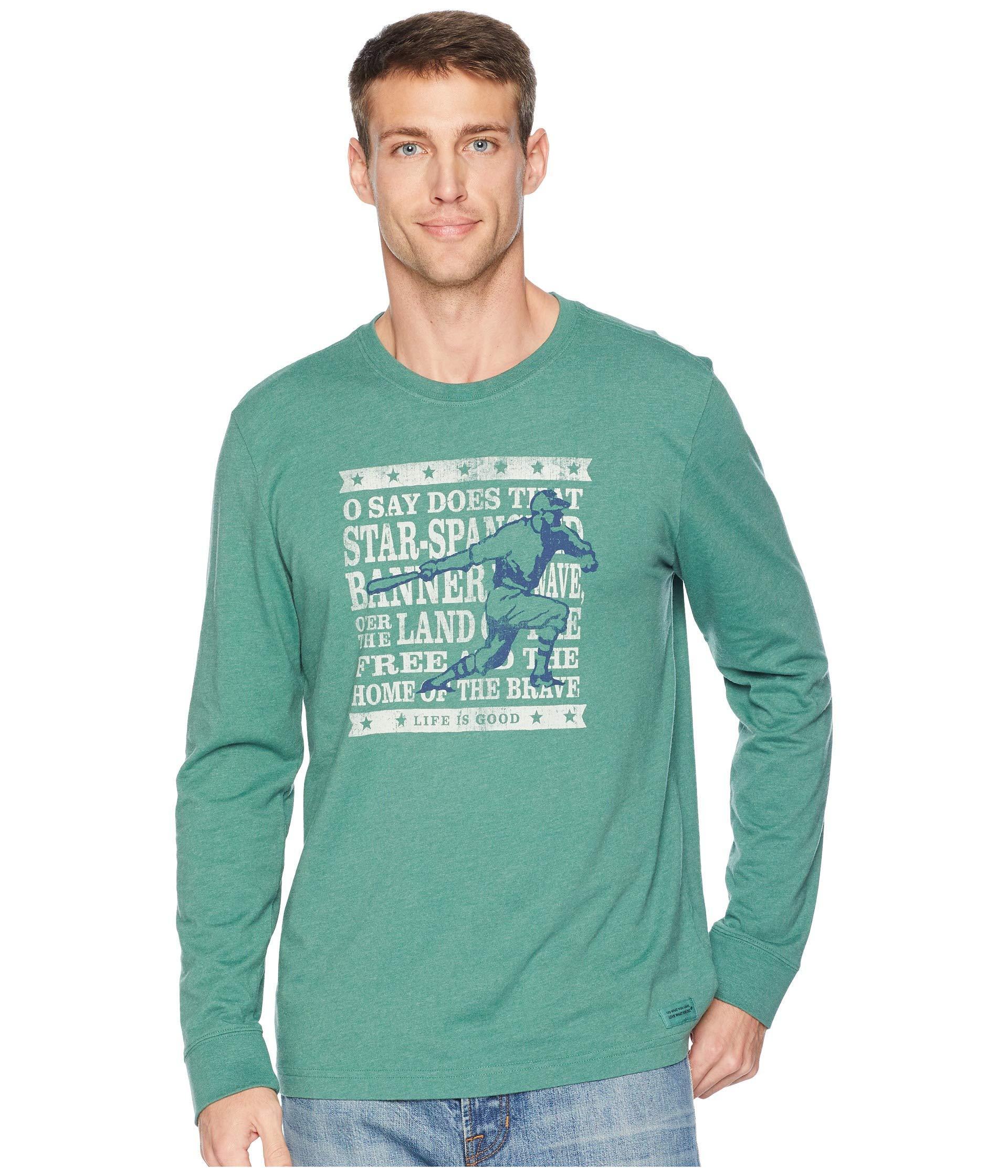 c99741e8035723 Life Is Good. Brave Baseball Crusher Long Sleeve T-shirt in Green ...