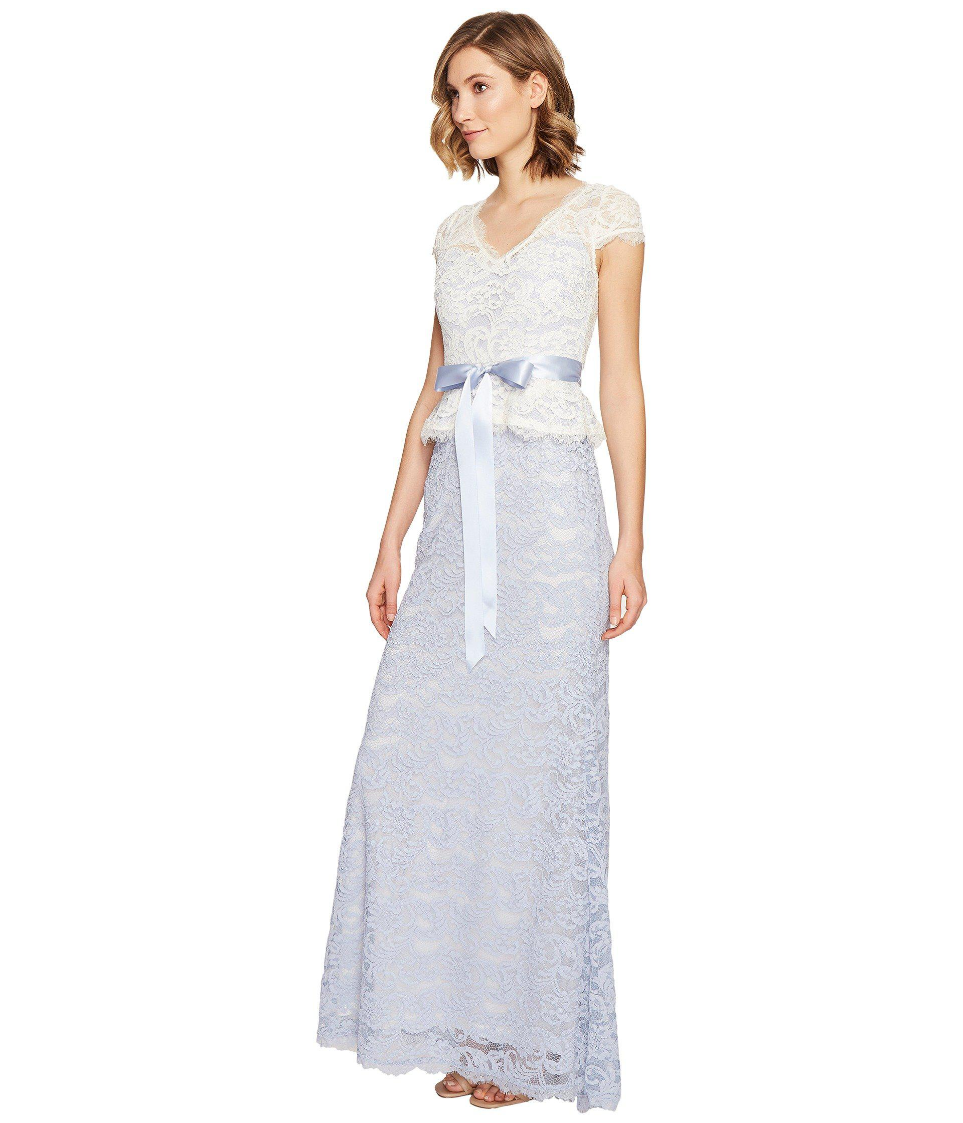 Lyst - Adrianna Papell Nouveau Scroll Lace Gown in Blue - Save ...