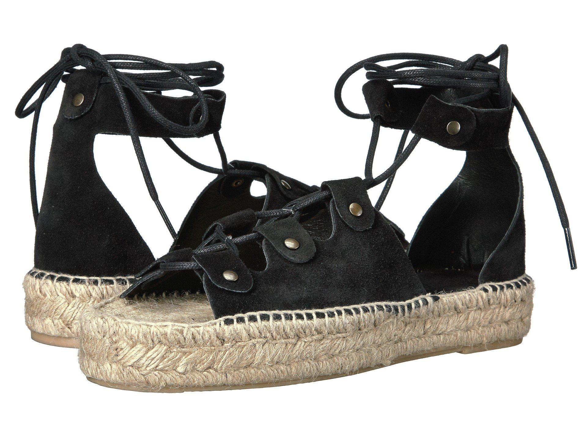 b9e3e8675aae Lyst - Soludos Ghillie Lace-up Suede Platform Sandal in Black