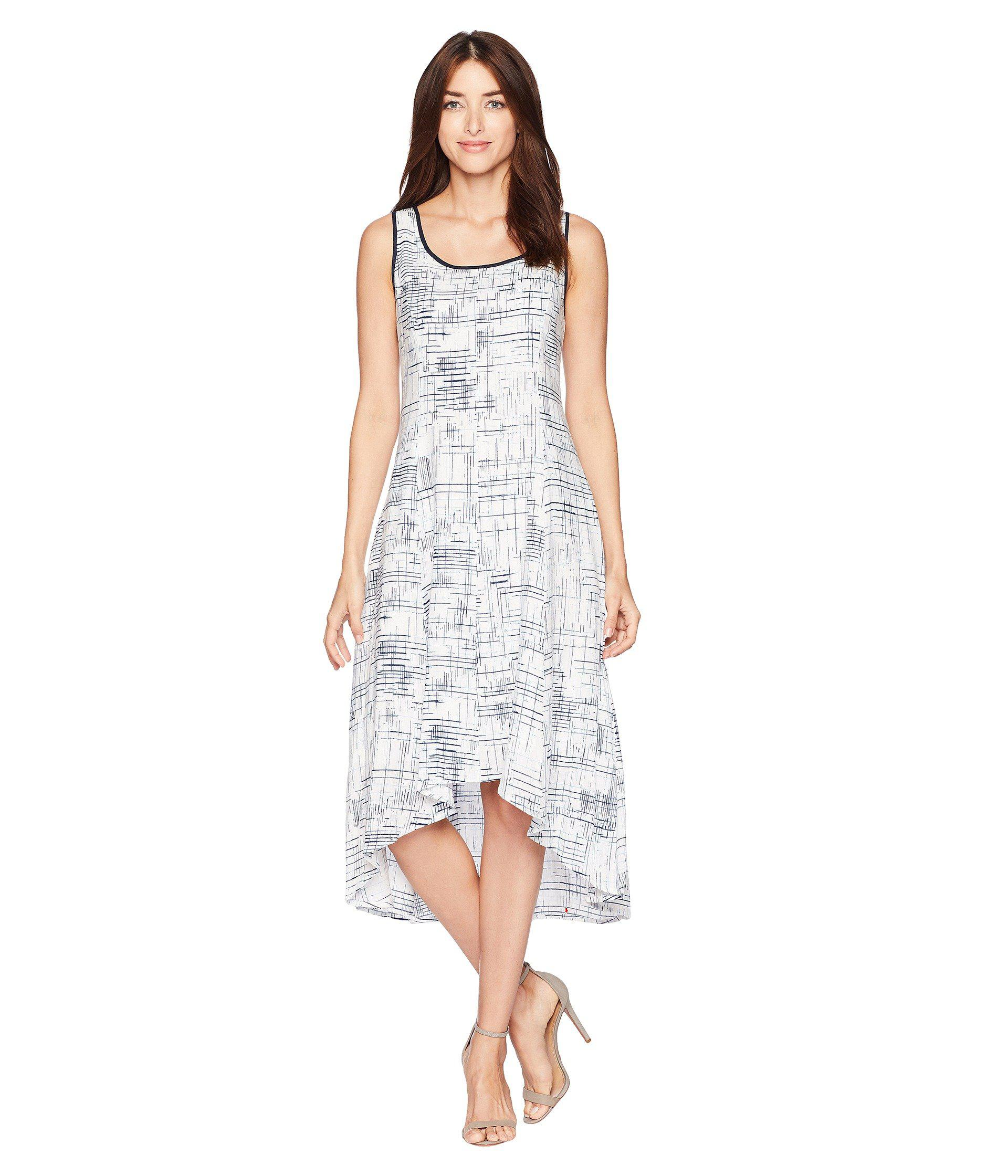 f962f7075df Jones New York. Women s White Sleeveless Printed Linen High-low Hem Dress